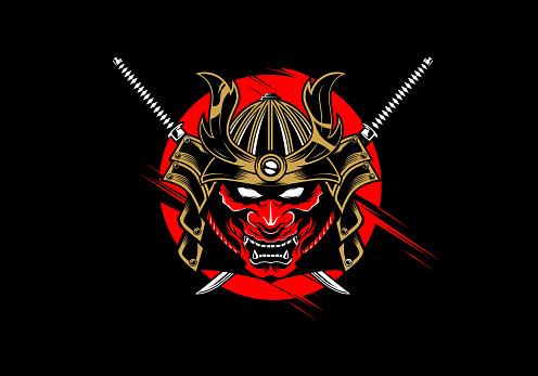 badass japanese samurai warrior helmet with hannya oni mask and katana swords vector illustration