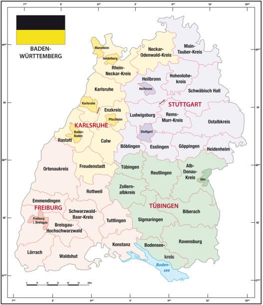 baden-württemberg skizziert administrative und politische landkarte mit flagge - schwarzwald stock-grafiken, -clipart, -cartoons und -symbole