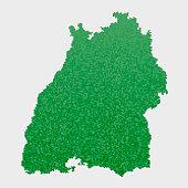 Baden-Wurttemberg German State Map Green Hexagon Pattern