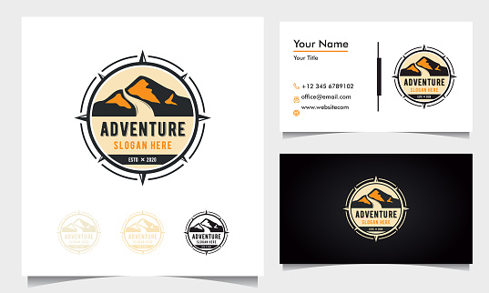 badge adventure logo design with mountains and road with compass ornament