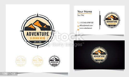 badge adventure logo design with mountains and road with compass ornament with business card template