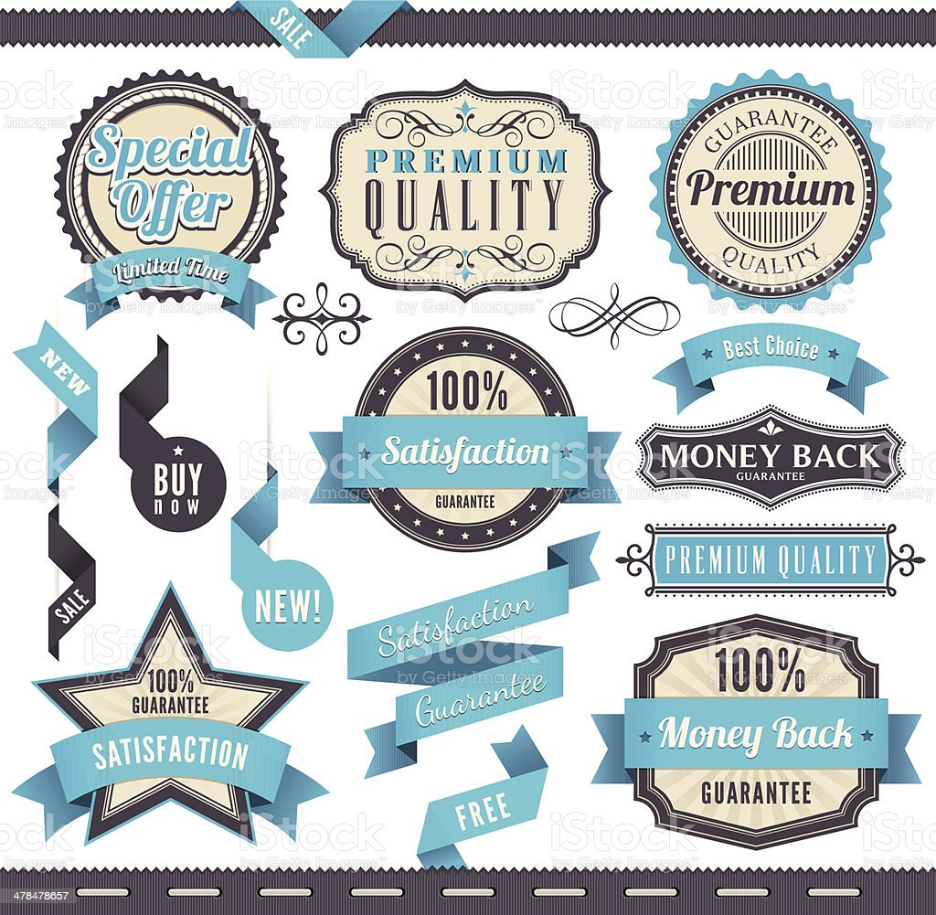 Badge and Ribbon Set vector art illustration