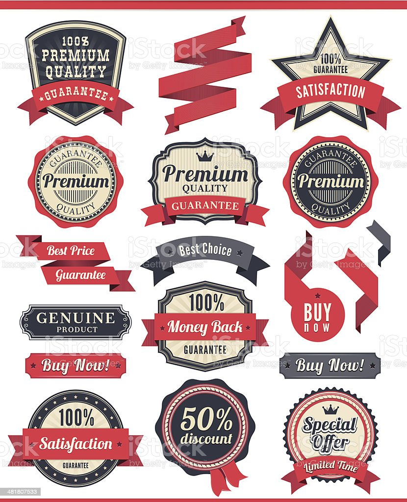 Badge and Ribbon Set royalty-free stock vector art