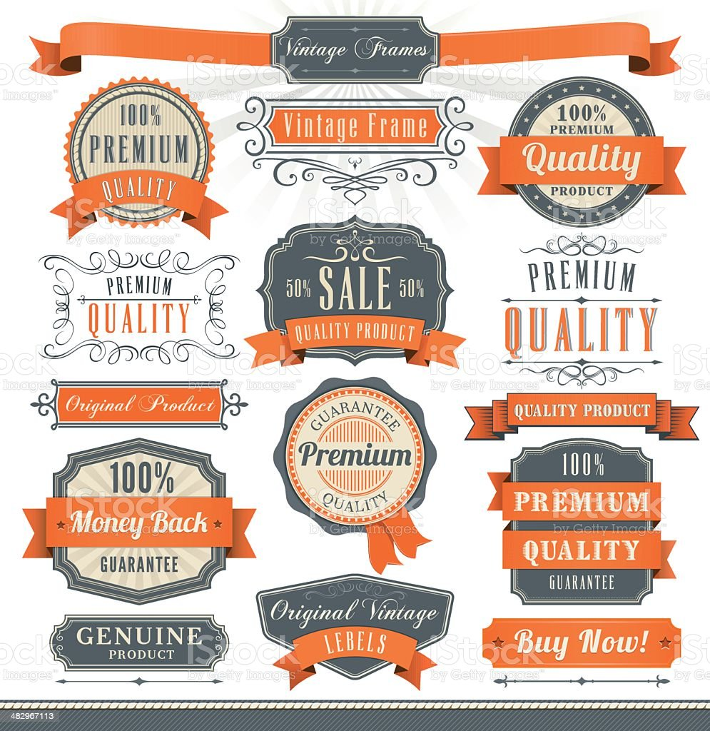 Badge and Ribbon Set royalty-free badge and ribbon set stock vector art & more images of achievement