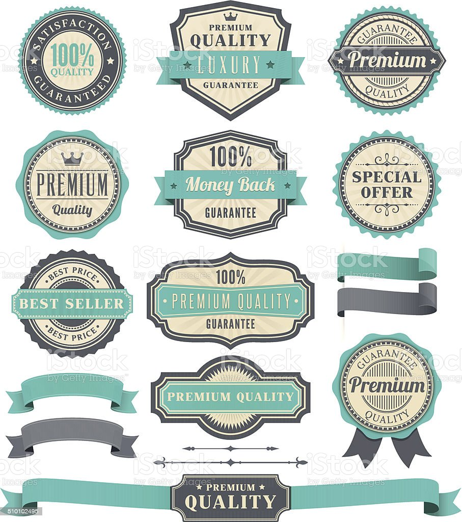 Badge and Ribbon Set vector art illustration