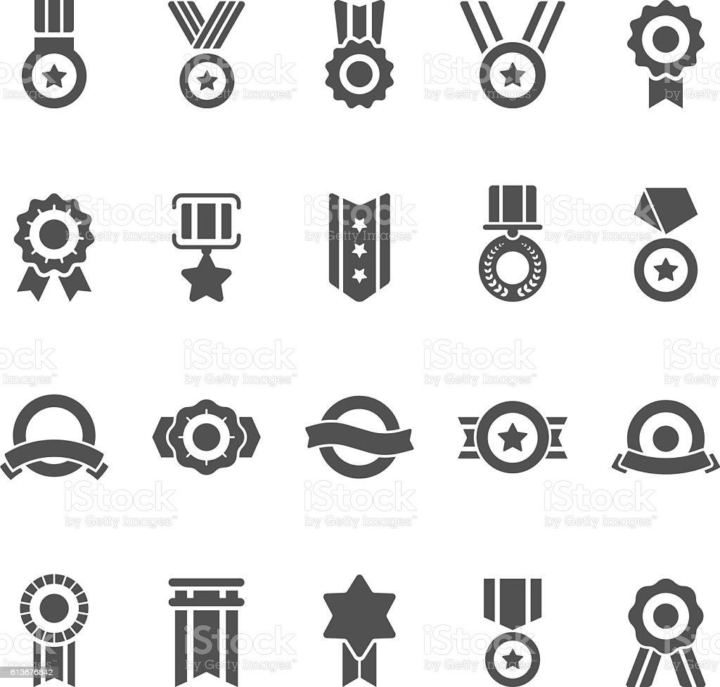 Badge Awards vector solid icons set vector art illustration