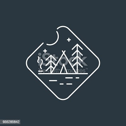 Camping badge . Night camping badge. Native american teepee tent, pine trees and camp fire with smoke. Dark background with white linear badge.
