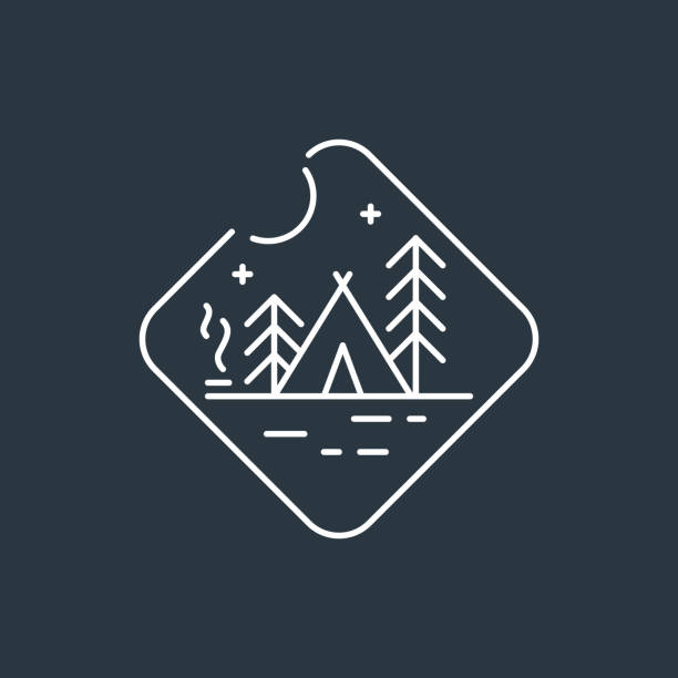 Badge camping Camping badge . Night camping badge. Native american teepee tent, pine trees and camp fire with smoke. Dark background with white linear badge. teepee stock illustrations