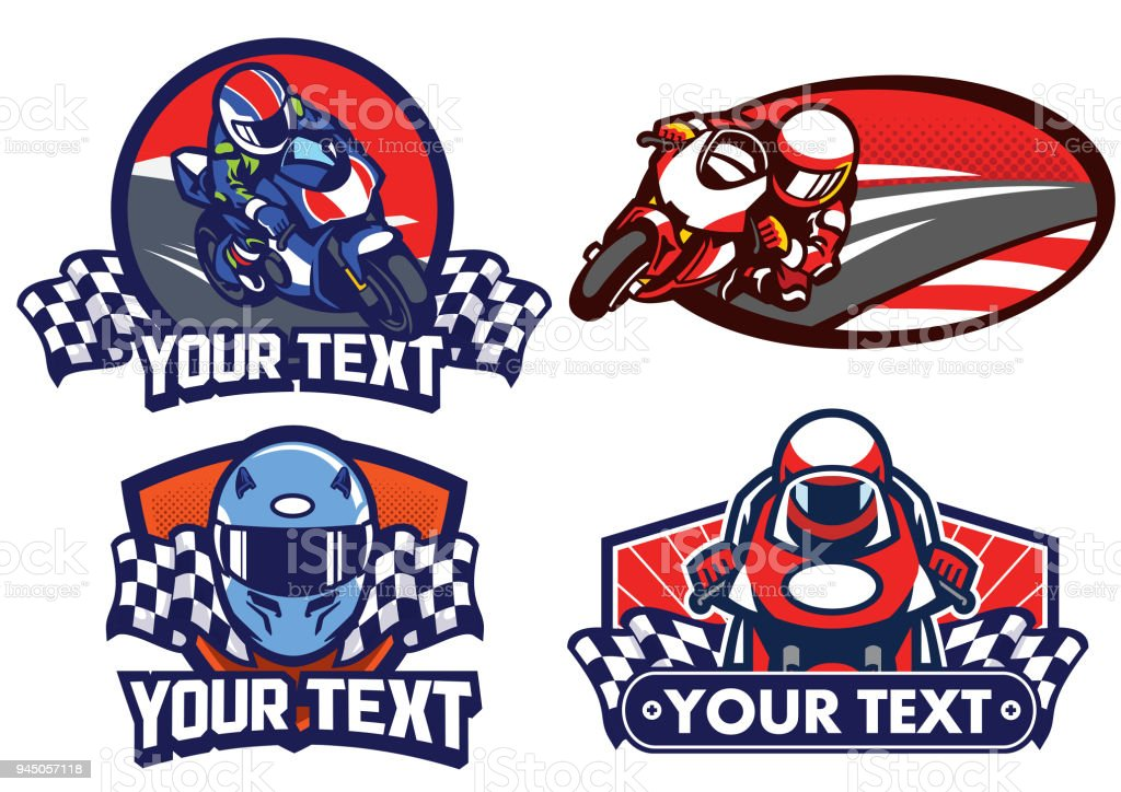 badge design motorcycle race vector art illustration