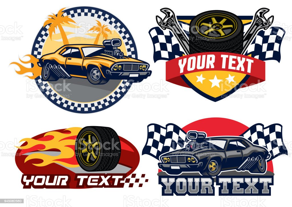 badge design muscle car vector art illustration