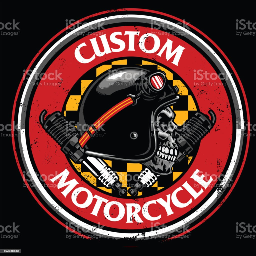 badge design of vintage rider skull vector art illustration