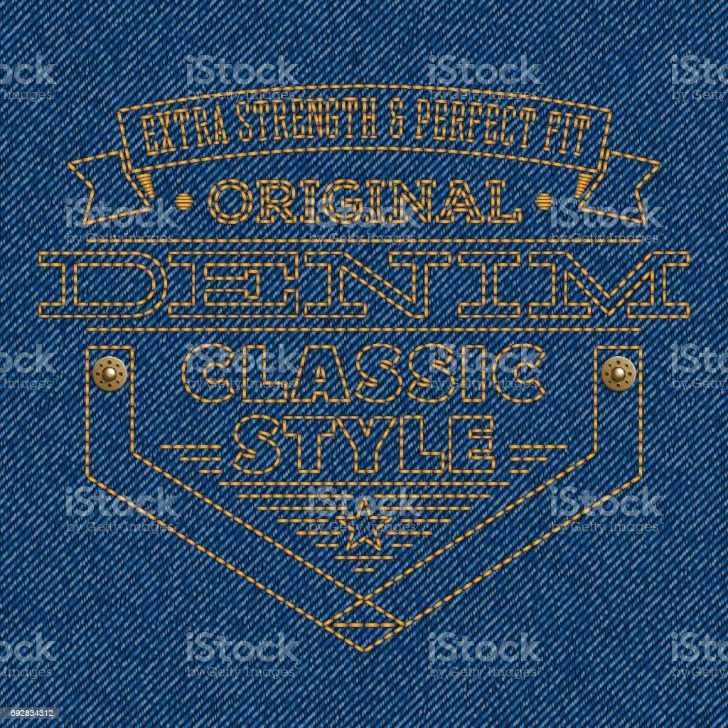 Badge embroidered on blue denim texture background vector art illustration