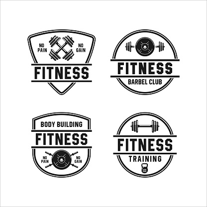 Badge fitness gym vector design collection