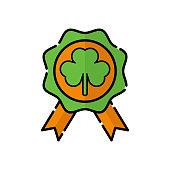 Badge flat icon vector illustration. Badge icon design isolated on white background. St. Patricks Day vector illustration. St. Patrick's Day vector icon trendy flat symbol for website, sign, mobile, app, UI.