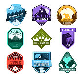 Set of badges with mountain and forest camp. Camp Patches.
