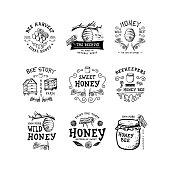 Set of badge Honey. Hand drawn bee, flower, hive, glass jar. Label  template. Design fashion apparel print. Graphic vintage illustration.
