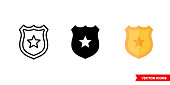 istock Badge icon of 3 types color, black and white, outline. Isolated vector sign symbol 1266835197