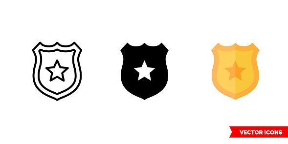 Badge icon of 3 types color, black and white, outline. Isolated vector sign symbol