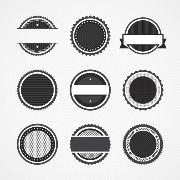 ikony identyfikatora - pieczęć znaczek stock illustrations