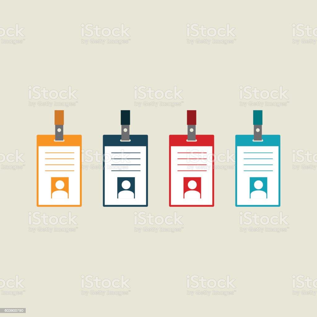 badge identification card flat design vector illustration からっぽ