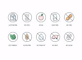 Badge Ingredient Warning Label Icons.  Gluten, Lactose and Sugar Free Labels.