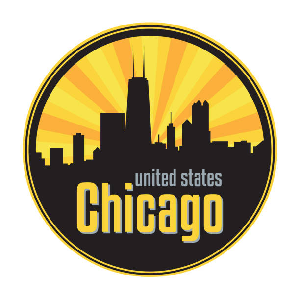 Badge, label or stamp with Chicago skyline Badge, label or stamp with Chicago skyline, vector illustration chicago stock illustrations