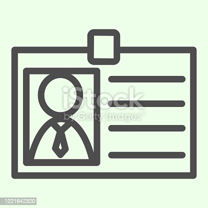 istock Badge line icon. Personal employee identity card with photo outline style pictogram on white background. Business id badge with avatar for mobile concept and web design. Vector graphics. 1221642320