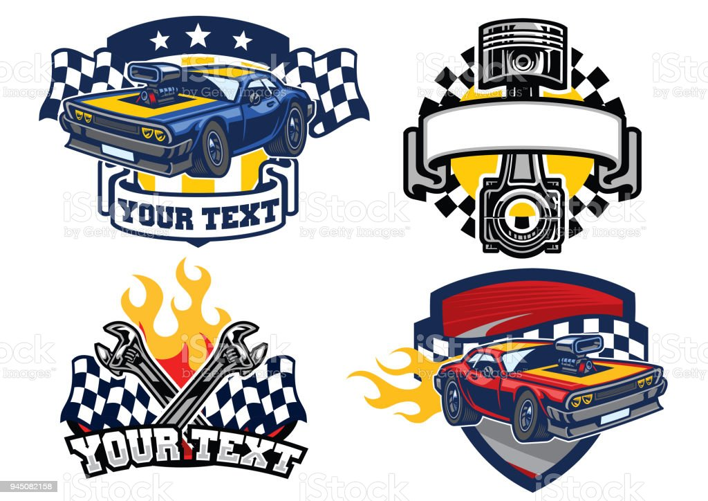 badge muscle car design vector art illustration