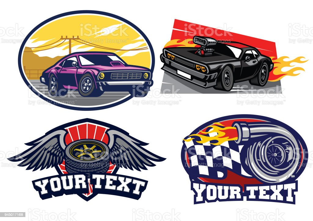 badge muscle car set vector art illustration