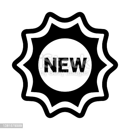 istock Badge, new, sticker icon. Black color 1281579359