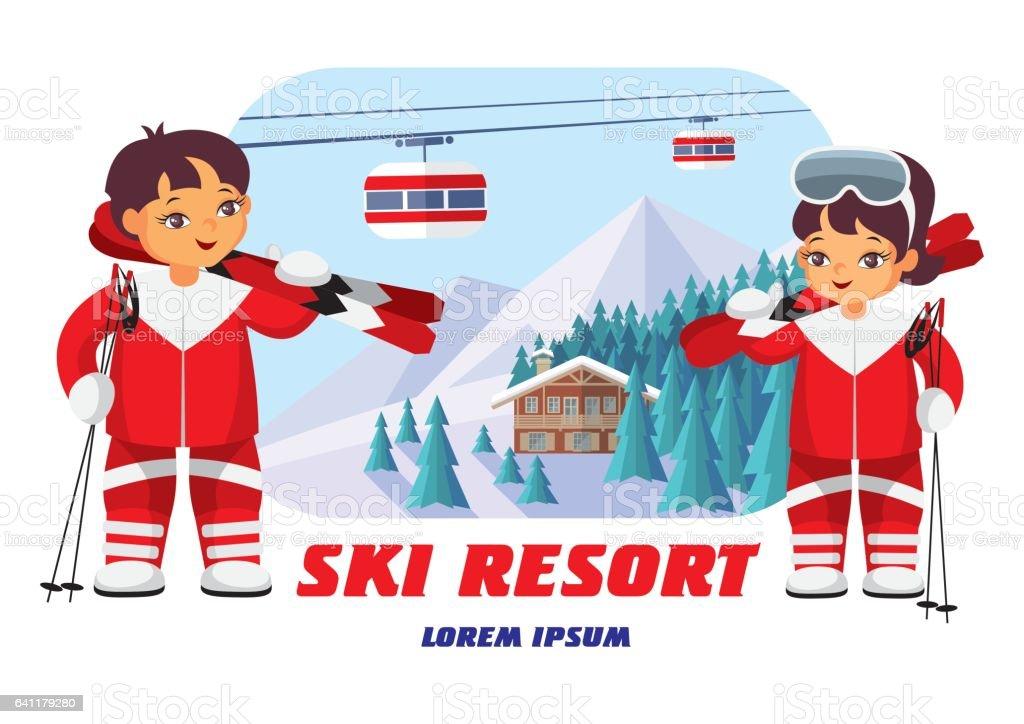 badge of ski resort vector art illustration