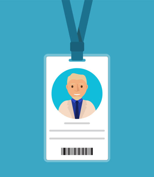 Badge of the man with a tie of the blonde in cartoon flat .Identification card for man.ID card with man photo. The businessman in a business suit in a jacket and a tie. Plastic identification card passing giving stock illustrations