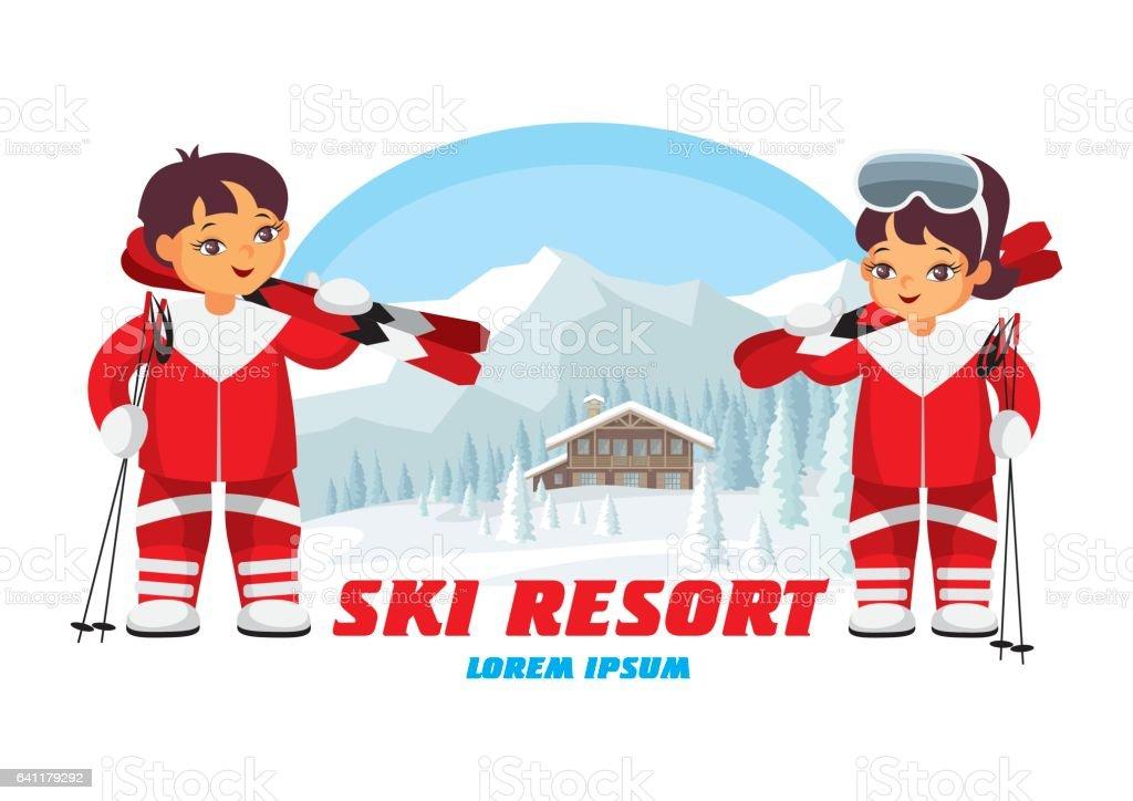 badge of winter resort vector art illustration