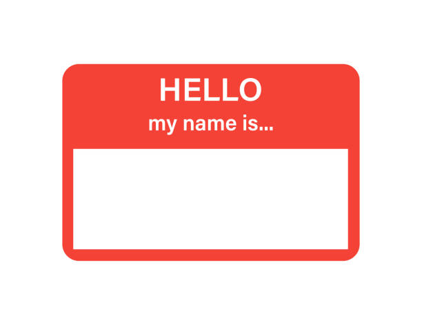 ilustrações, clipart, desenhos animados e ícones de emblema ou registro etiqueta isolada do vetor olá meu nome está no estilo liso na moda no fundo branco. - identidade