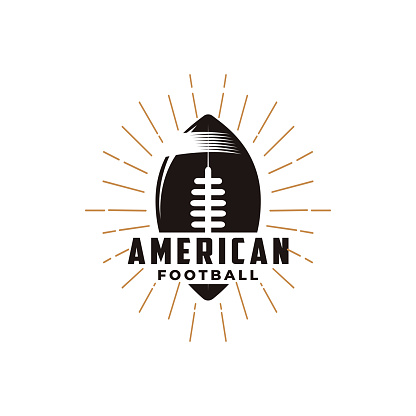 Badge patch emblem American football sport vector with Gridiron ball on white background