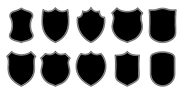 Badge patch shield shape vector heraldic icons. Football or soccer club or military police clothing badge patch blank black templates isolated set