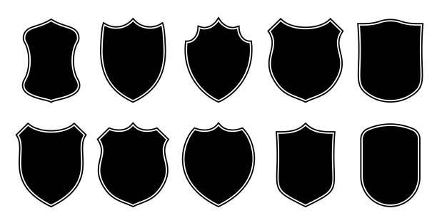 illustrations, cliparts, dessins animés et icônes de badge patch bouclier forme vecteur héraldique icônes. football ou club de soccer ou police militaire vêtements badge patch blanc noir modèles isolés ensemble - football