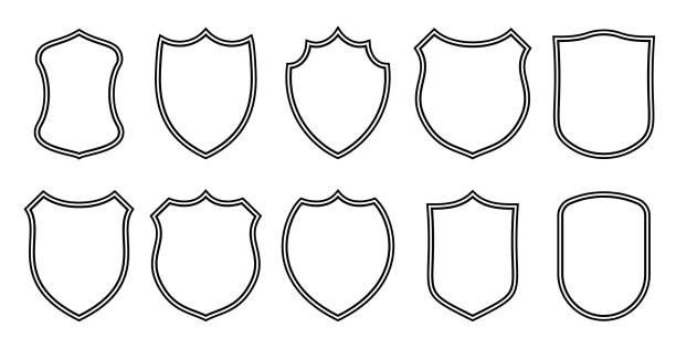 Badge patches vector outline templates. Vector sport club, military or heraldic shield and coat of arms blank icons Badge patches vector outline templates. Vector sport club, military or heraldic shield and coat of arms blank icons emergency equipment stock illustrations