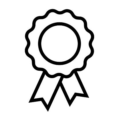 Badge Ribbon Line Icon, Outline Symbol Vector Illustration