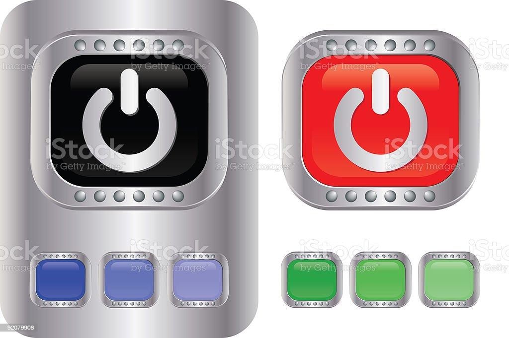 CHROME Badge Series - POWER BUTTON royalty-free stock vector art