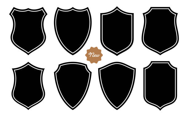illustrazioni stock, clip art, cartoni animati e icone di tendenza di badge shape set vector template - polizia
