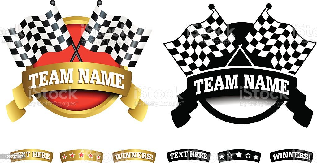 Badge, symbol or icon on white for motor racing vector art illustration