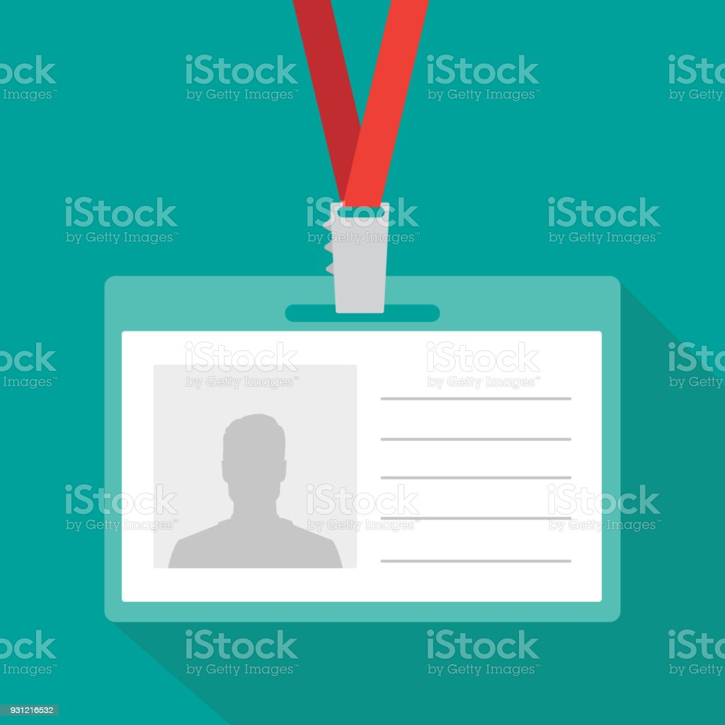 badge template or identification card with lanyard conference