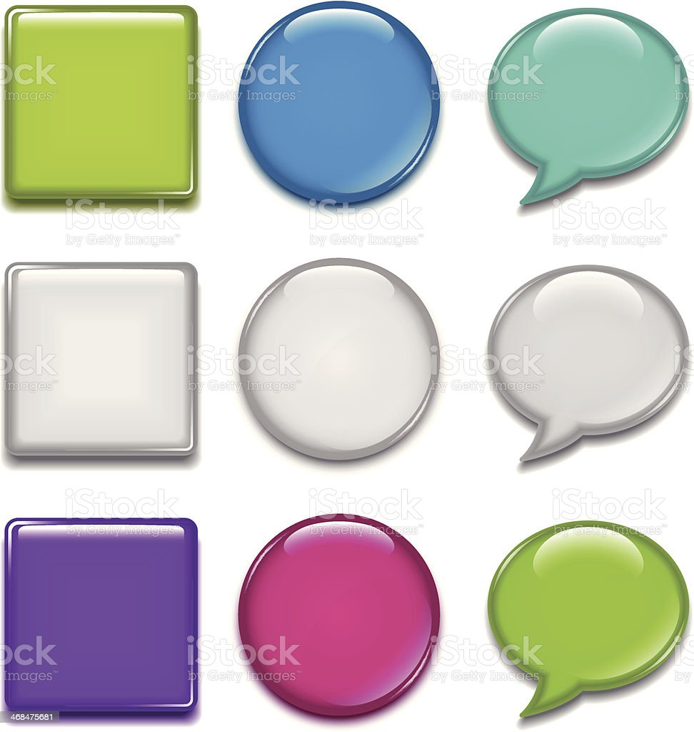 Badge (speech bubbles & rounded square & circle) vector art illustration