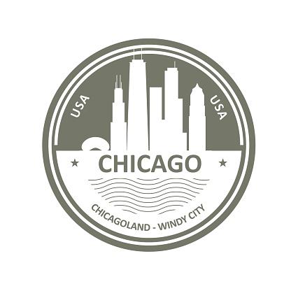 Badge with Chicago skyline - Chicago city emblem