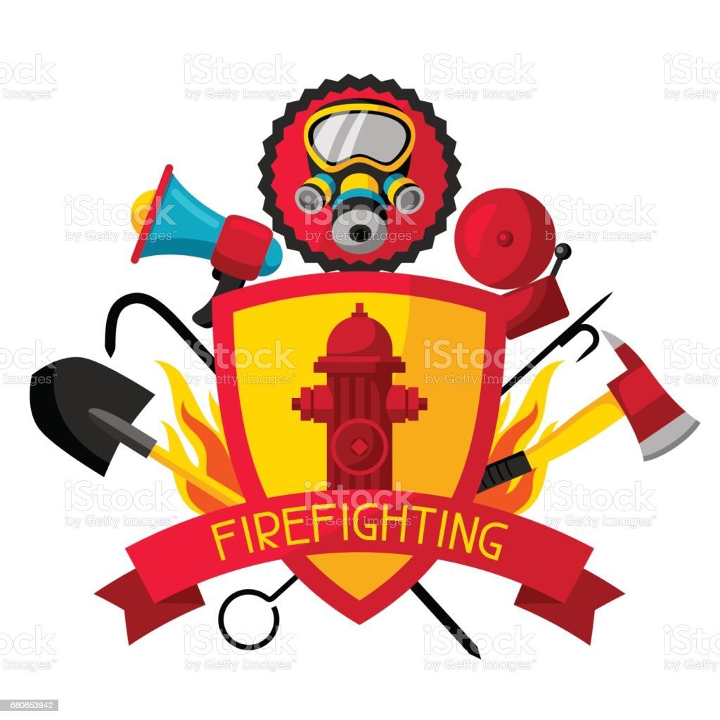 Badge with firefighting items. Fire protection equipment vector art illustration