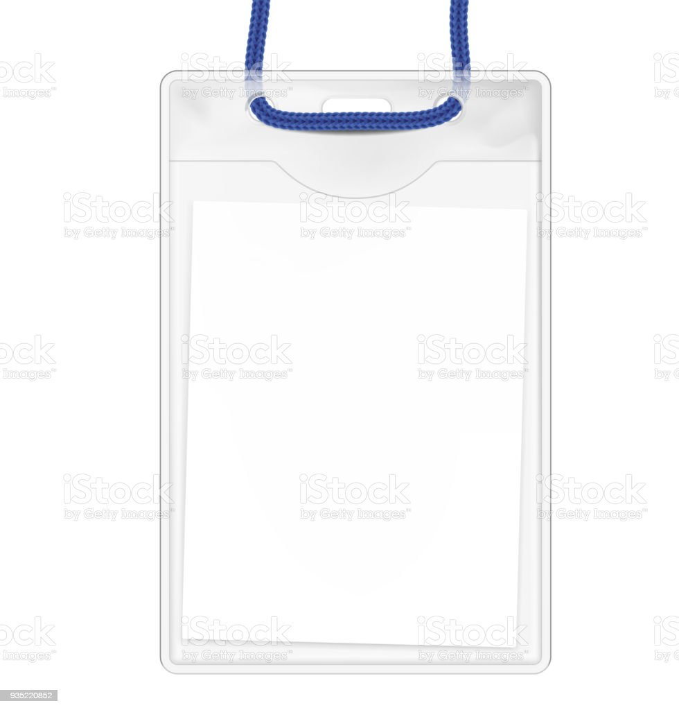badge with id card on the lace vector illustration isolated on white