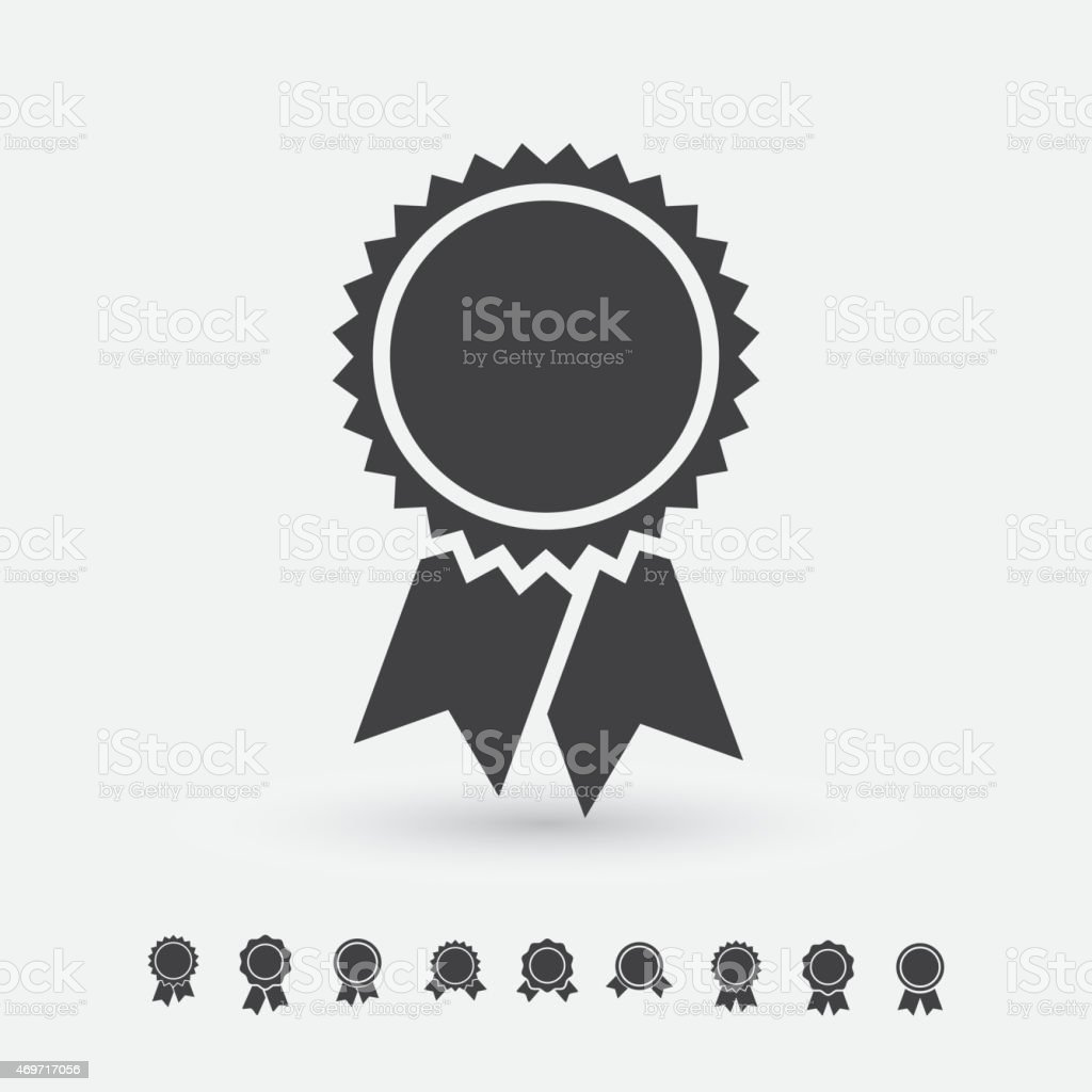 Badge with ribbons icon vector art illustration