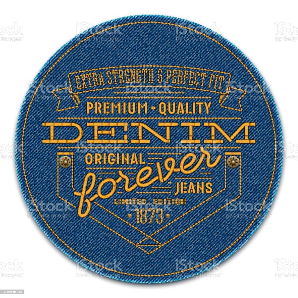 リベットや言葉のダークブルー デニム背景に刺繍バッジ。ベクトルのリアルなイラストです。 - つぎあてのロイヤリティフリーベクトルアート