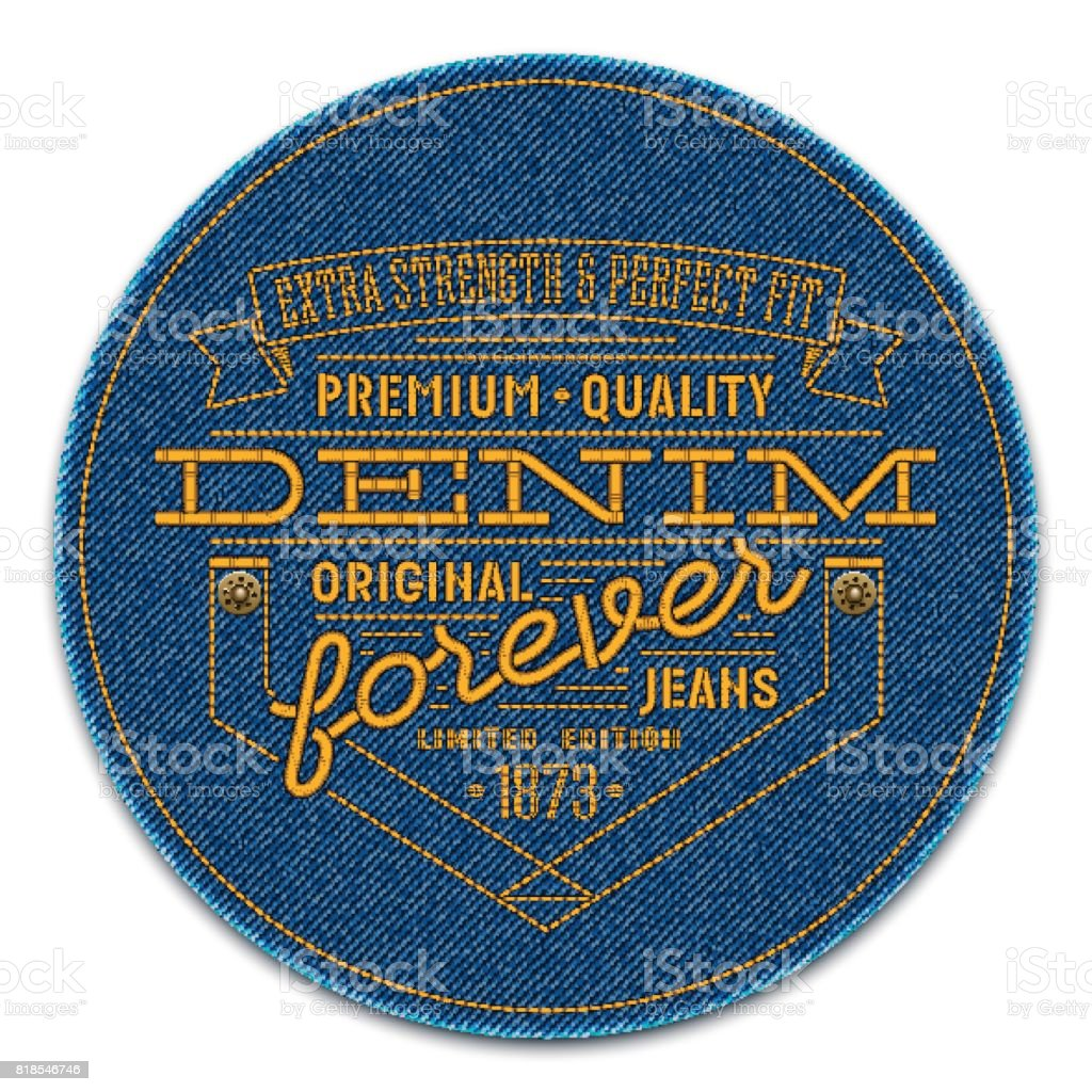 Badge with rivets and words embroidered on dark blue denim background. Vector realistic illustration. vector art illustration